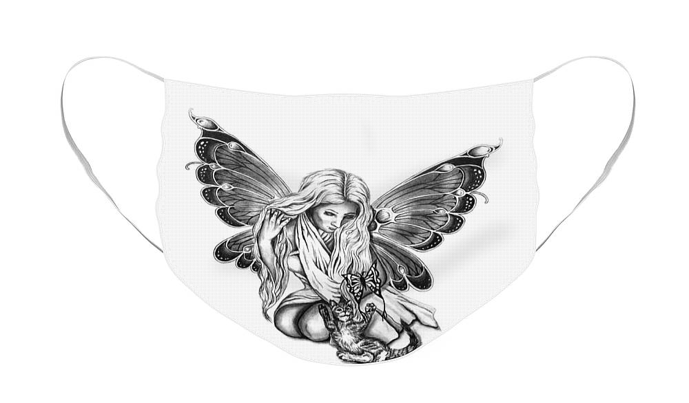 Cat Fairy Face Mask featuring the drawing Cat Fairy by Peter Piatt
