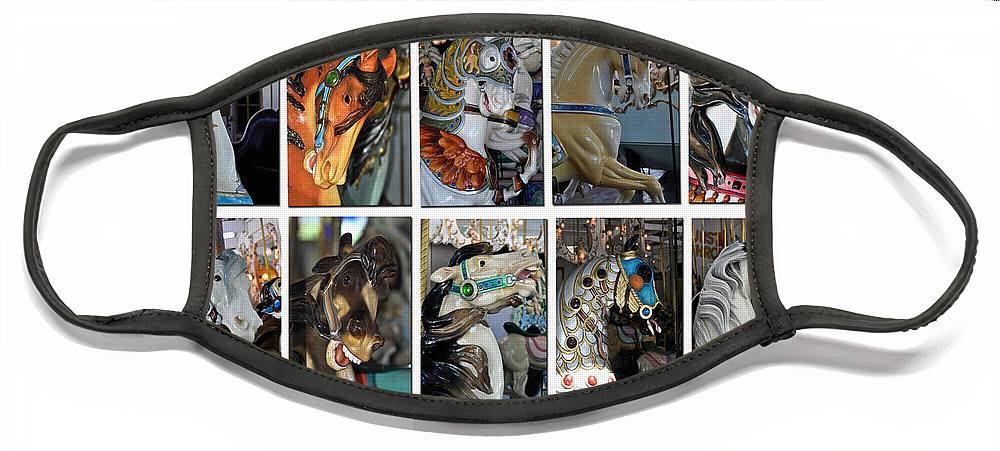 Diane Berry Face Mask featuring the photograph Charles Looff Carousel Ponies by Diane E Berry