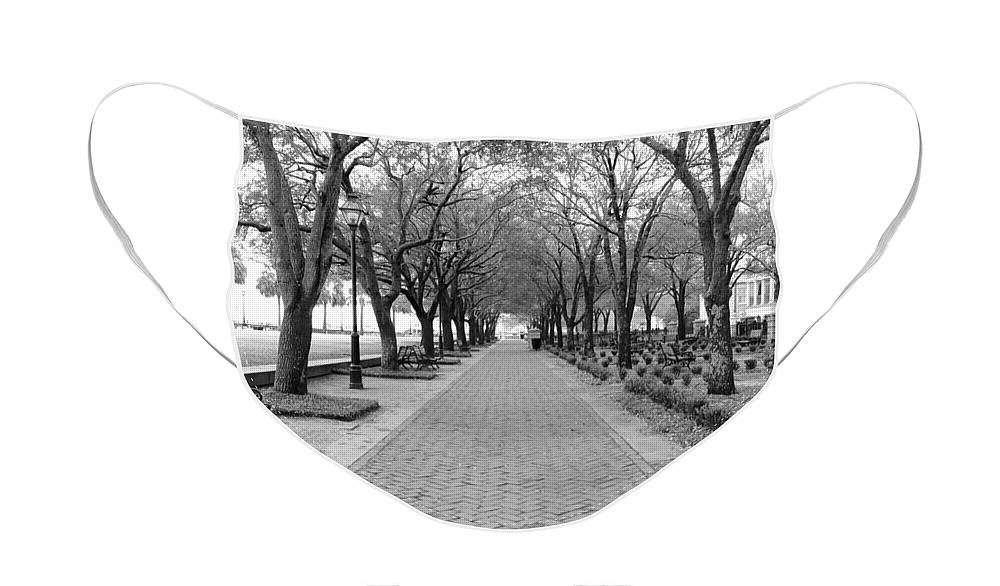 Charleston Face Mask featuring the photograph Charleston Waterfront Park Walkway - Black and White by Carol Groenen