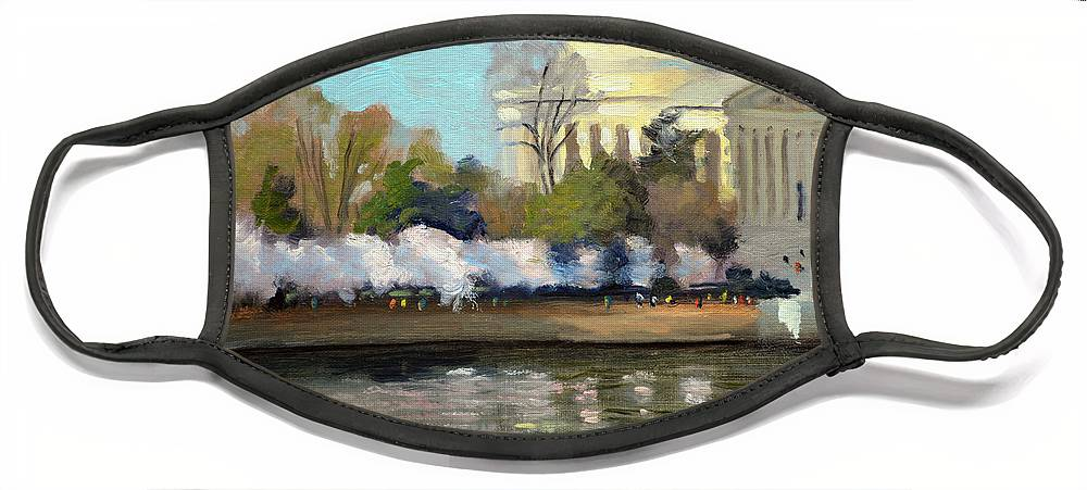 Washington Dc Face Mask featuring the painting Cherry Blossoms Morning - Washington DC by Armand Cabrera