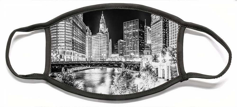 America Face Mask featuring the photograph Chicago River Buildings at Night in Black and White by Paul Velgos