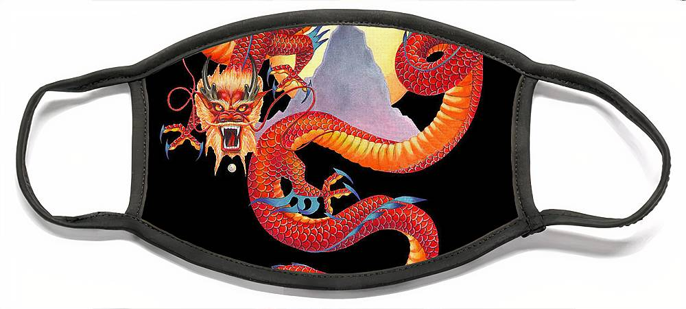 Dragon Face Mask featuring the painting Chinese Dragon on Black by Melissa A Benson