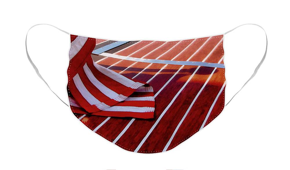 Classic Boat Face Mask featuring the photograph Chris Craft with American Flag by Michelle Calkins