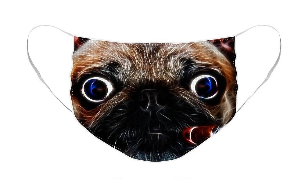 Animal Face Mask featuring the photograph Cigar Puffing Pug - Electric Art by Wingsdomain Art and Photography