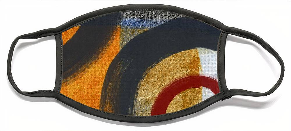 Circles Face Mask featuring the painting Circles 3 by Linda Woods