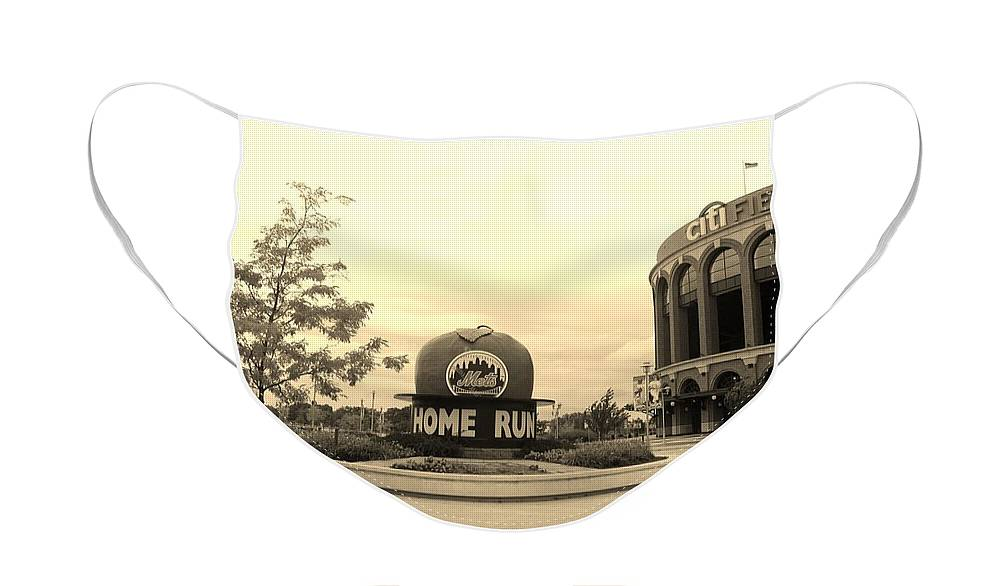 Shea Stadium Face Mask featuring the photograph CITI FIELD in SEPIA by Rob Hans