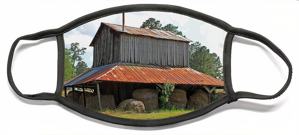 Tobacco Barn Face Mask featuring the photograph Clewis Family Tobacco Barn by Suzanne Gaff