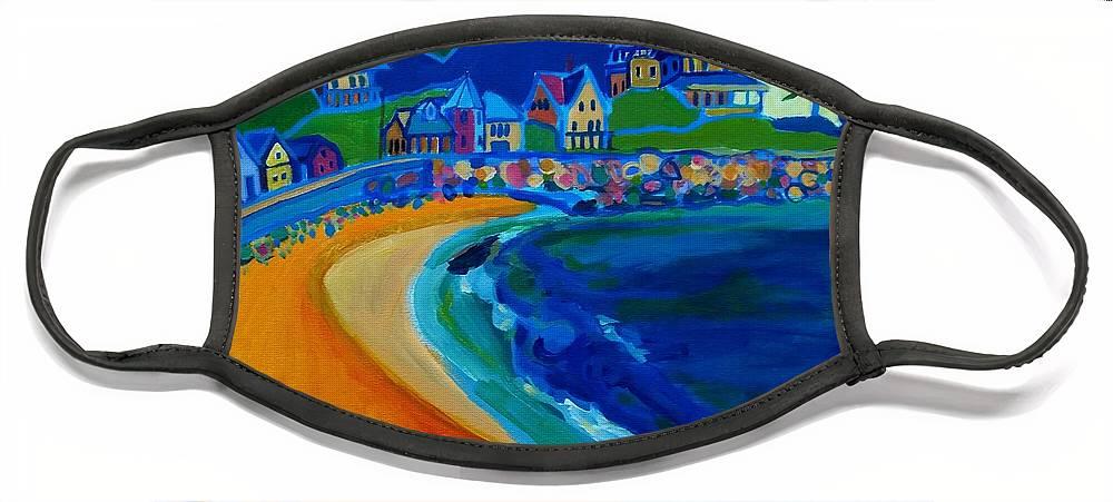 Beach Face Mask featuring the painting Cliff House near Hampton Beach NH by Debra Bretton Robinson