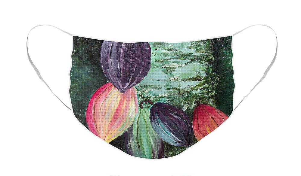 Cocoa On The Tree Face Mask featuring the painting Cocoa Pods by Karin Dawn Kelshall- Best