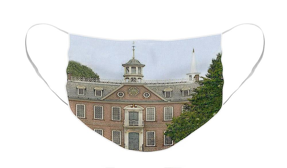 Diane Berry Face Mask featuring the drawing Colonial Court House Newport Rhode Island by Diane E Berry