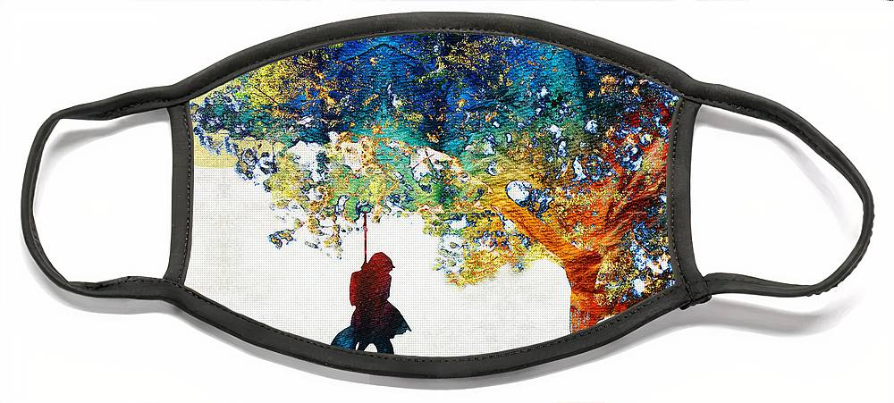 Tree Face Mask featuring the painting Colorful Landscape Art - The Dreaming Tree - By Sharon Cummings by Sharon Cummings