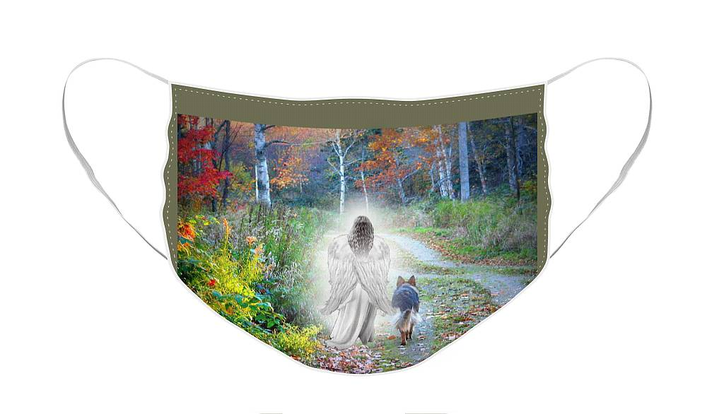 German Shepherd Face Mask featuring the photograph Come Walk With Me by Sue Long