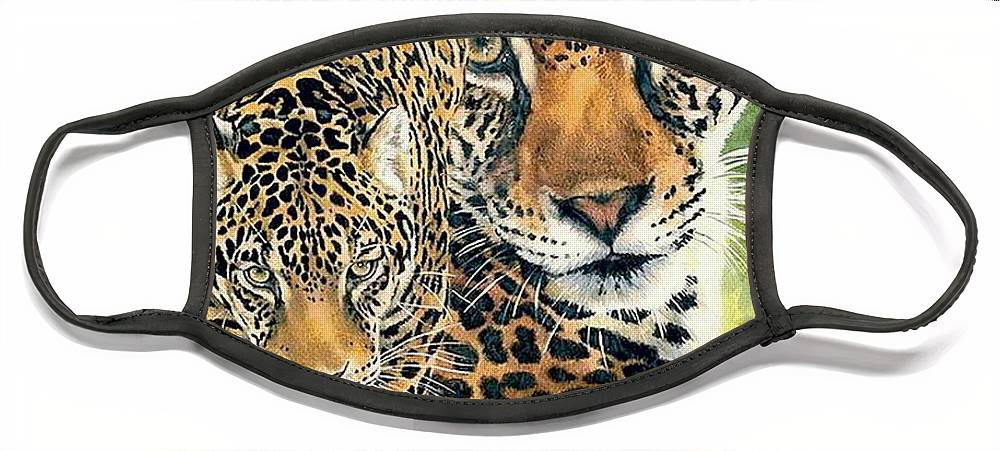 Jaguar Face Mask featuring the mixed media Compelling by Barbara Keith
