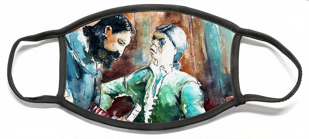 Portugal Face Mask featuring the painting Conquistadores on The Boat in Vila do Conde in Portugal by Miki De Goodaboom