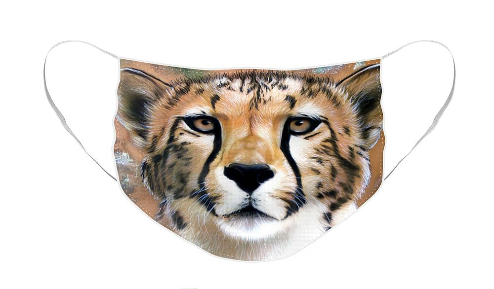 Copper Face Mask featuring the painting Copper Flash - Cheetah by Sandi Baker
