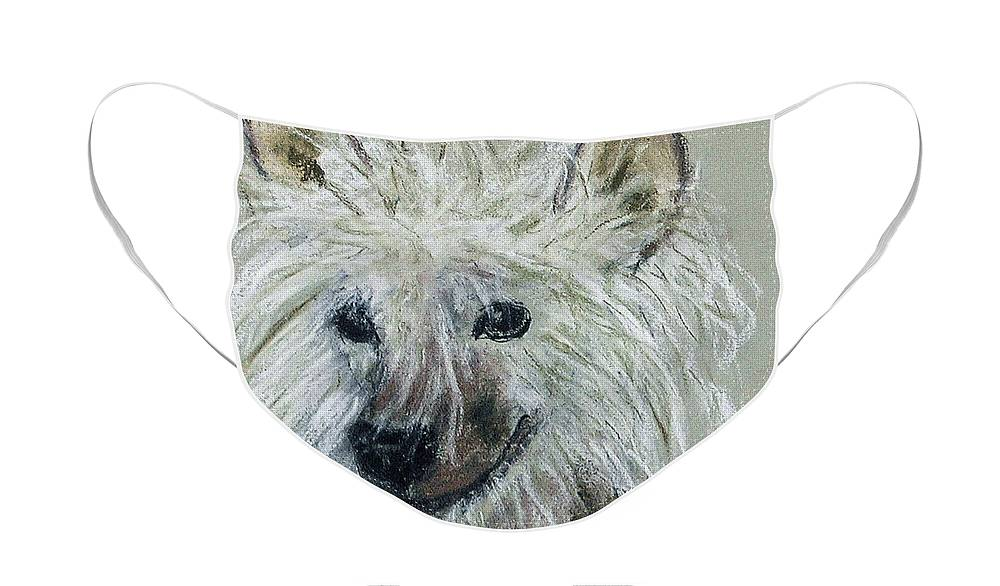 Chinese Crested Face Mask featuring the drawing Crested Star by Cori Solomon