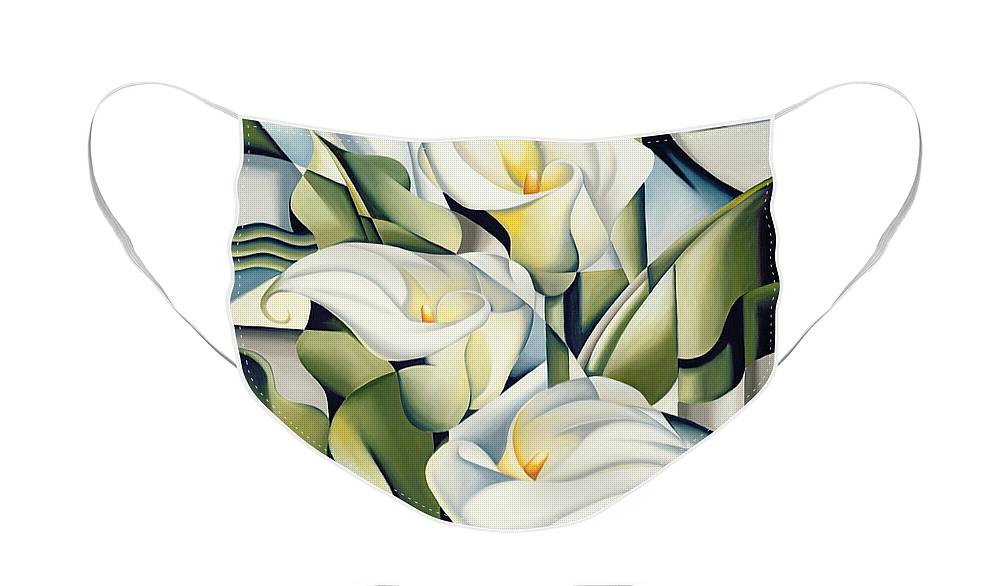 Cubist Face Mask featuring the painting Cubist lilies by Catherine Abel
