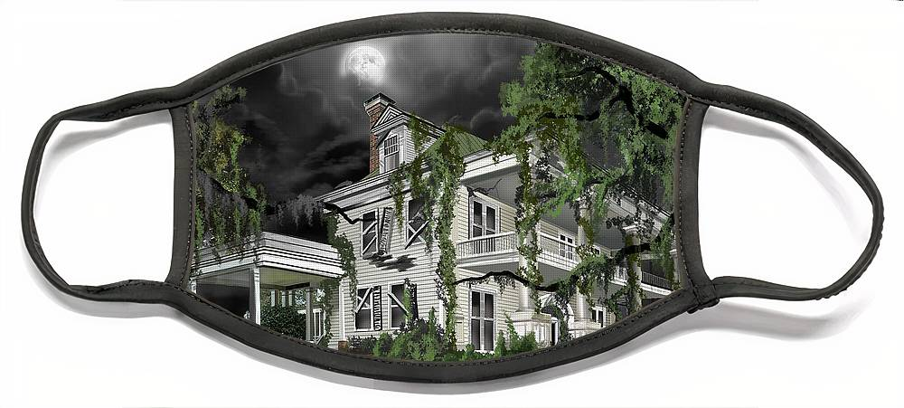 Face Mask featuring the painting Dark Plantation House by James Christopher Hill
