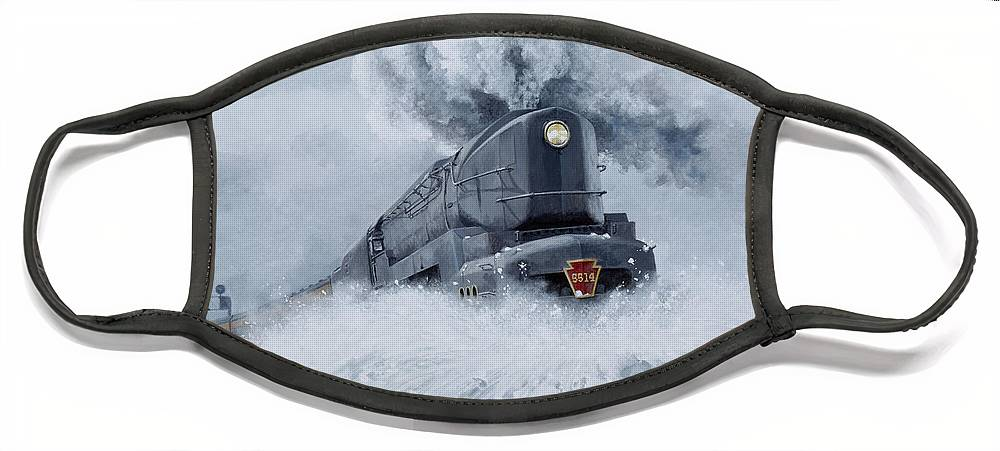 Trains Face Mask featuring the painting Dashing Through the Snow by David Mittner