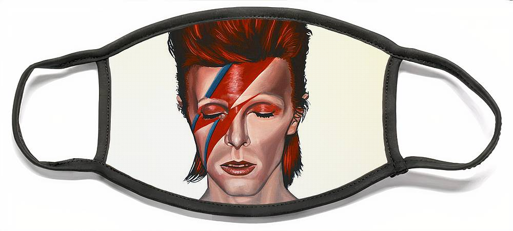 David Bowie Face Mask featuring the painting David Bowie Aladdin Sane by Paul Meijering