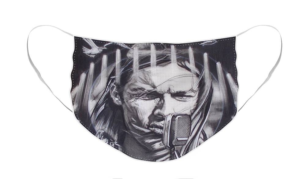 Charcoal On Paper Face Mask featuring the drawing David Gilmour Of Pink Floyd - Echoes by Sean Connolly