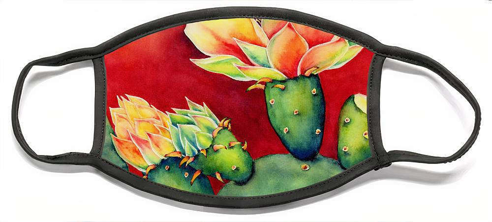 Cactus Face Mask featuring the painting Desert Bloom by Hailey E Herrera