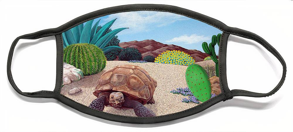Tortoise Face Mask featuring the painting Desert Tortoise by Snake Jagger