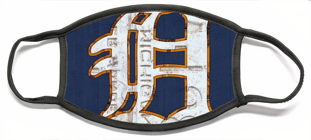 Detroit Tigers Baseball Old English D Logo License Plate Art Sports Michigan License Plate Map Face Mask featuring the mixed media Detroit Tigers Baseball Old English D Logo License Plate Art by Design Turnpike