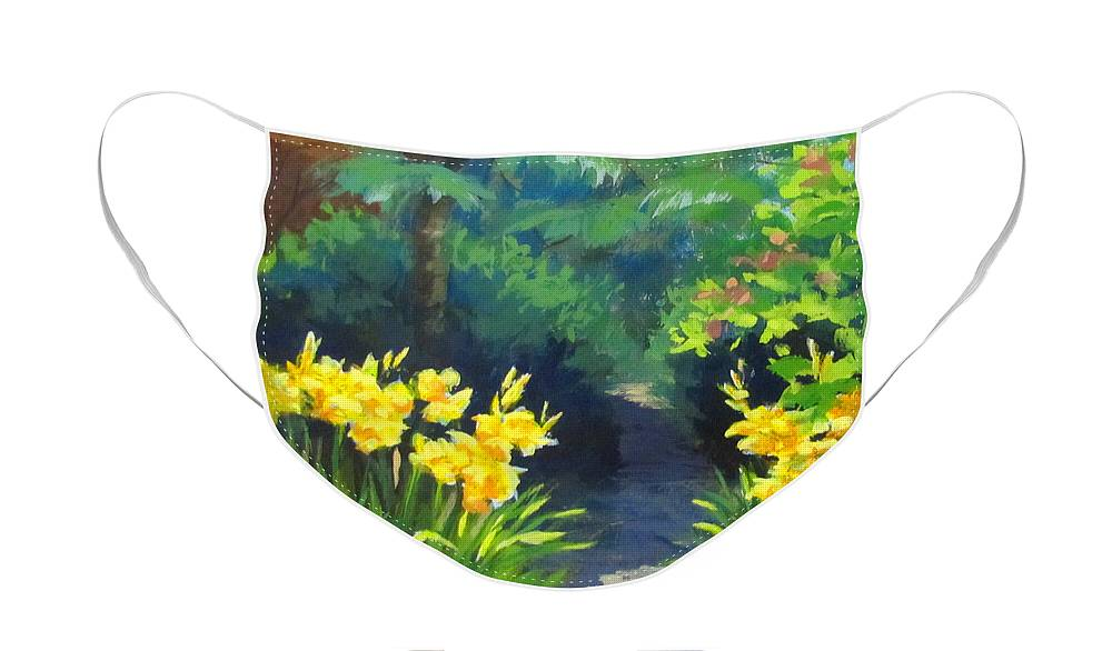 Summer Face Mask featuring the painting Discovery Garden by Karen Ilari