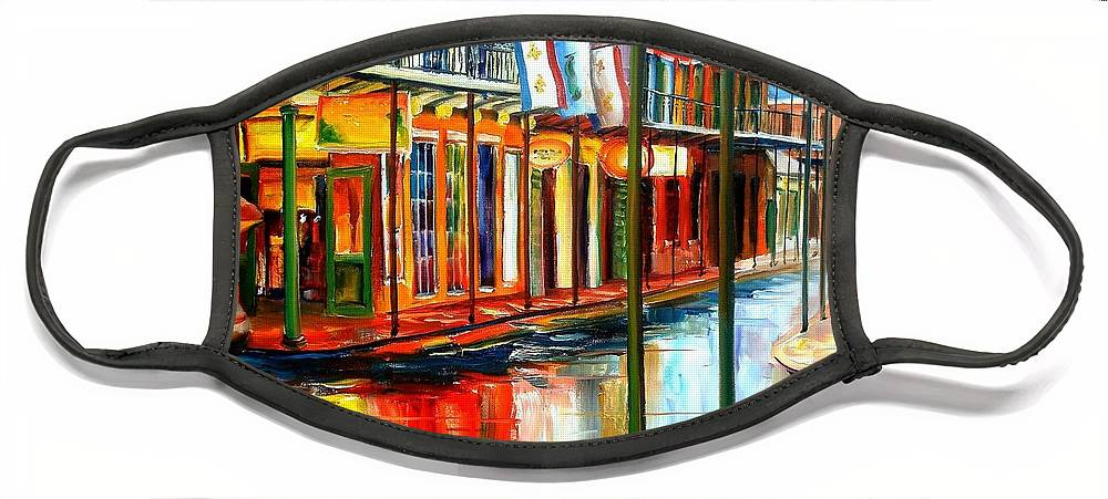 New Orleans Face Mask featuring the painting Downpour on Bourbon Street by Diane Millsap