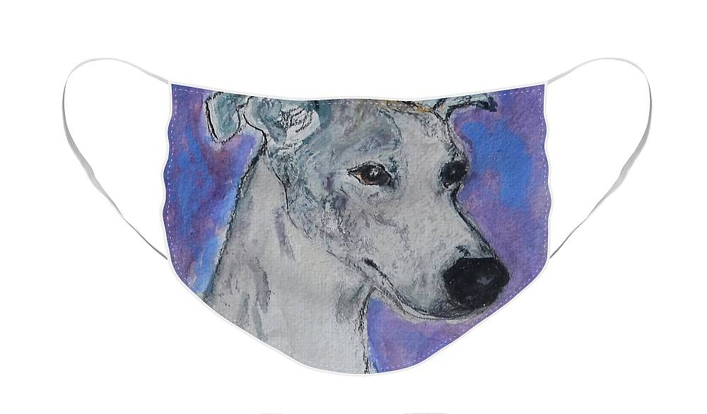 Whippet Face Mask featuring the painting Dream Weaver by Cori Solomon
