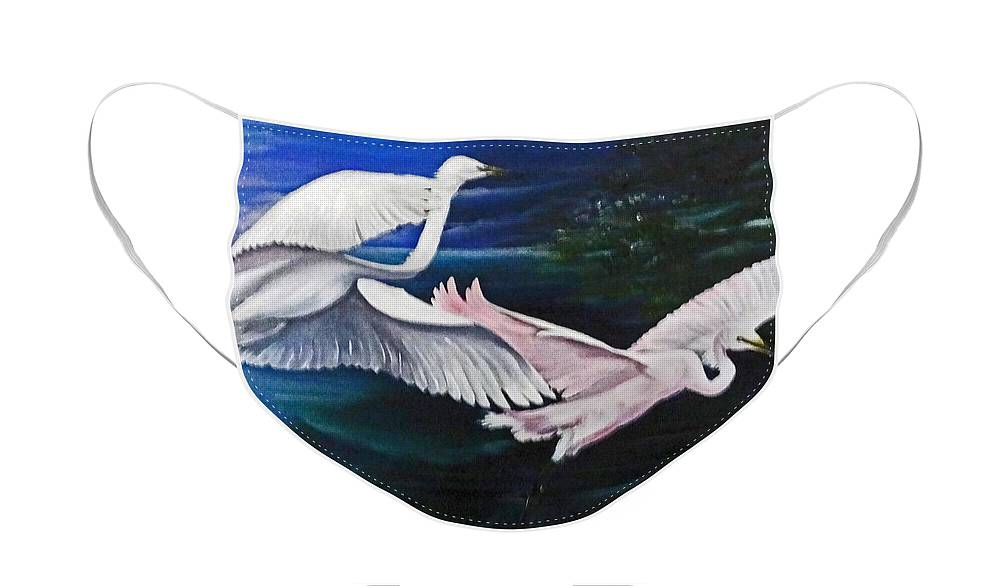 Snowy Egrets Face Mask featuring the painting Early Flight by Karin Dawn Kelshall- Best