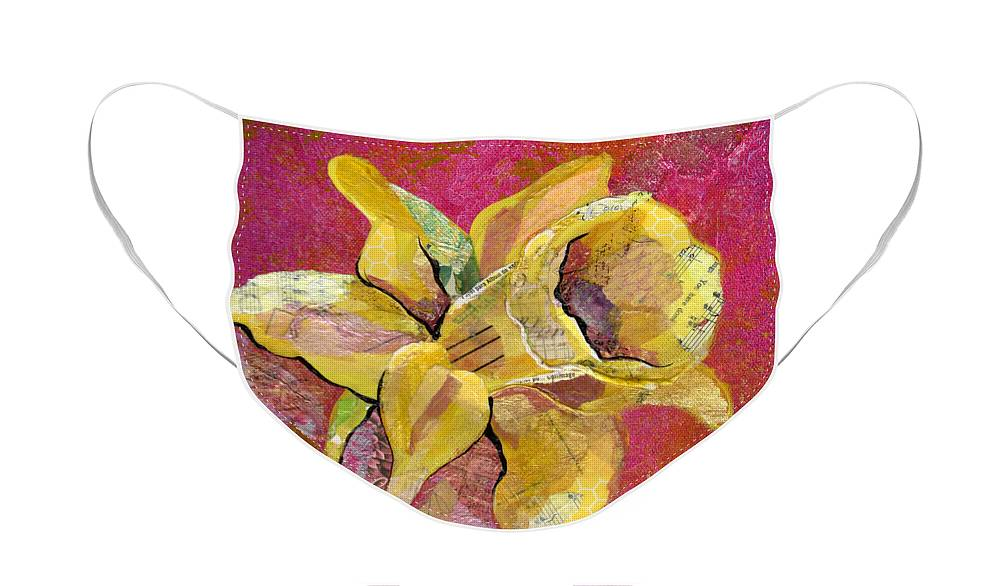 Flower Paintings Face Mask featuring the mixed media Early Spring I Daffodil Series by Shadia Derbyshire