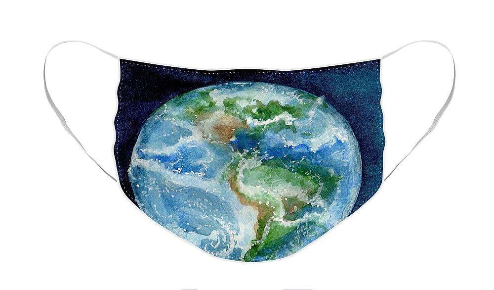Art Face Mask featuring the painting Earth View by Elle Smith Fagan