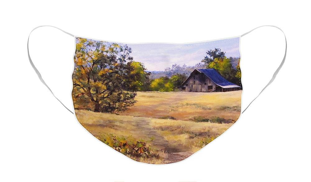 Landscape Face Mask featuring the painting Edge of Autumn by Karen Ilari