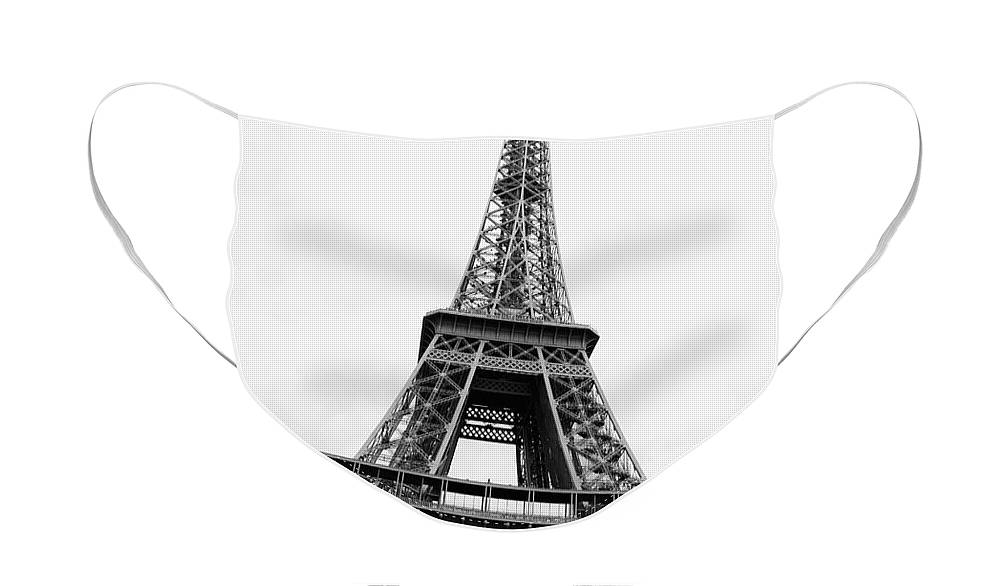 A Different Perspective Face Mask featuring the photograph Eiffel Tower Perspective - Black and White by Carol Groenen