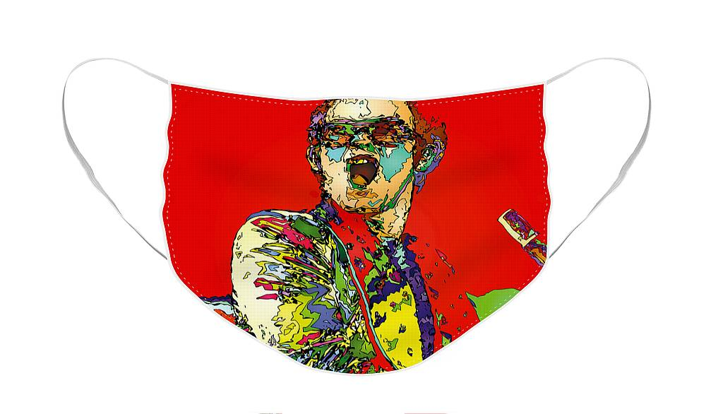Elton John Face Mask featuring the painting Elton in Red by John Farr