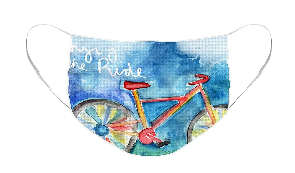 Bike Face Mask featuring the painting Enjoy The Ride- Colorful Bike Painting by Linda Woods