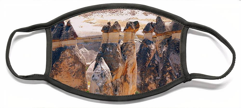 Landscape Face Mask featuring the photograph Fairy Chimney Panorama by Apurva Madia