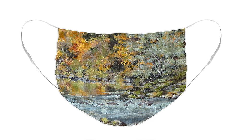 Seasons Face Mask featuring the painting Fall on the River by Karen Ilari