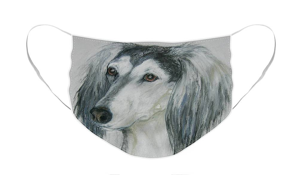 Saluki Face Mask featuring the drawing Fantasy's Favorite by Cori Solomon