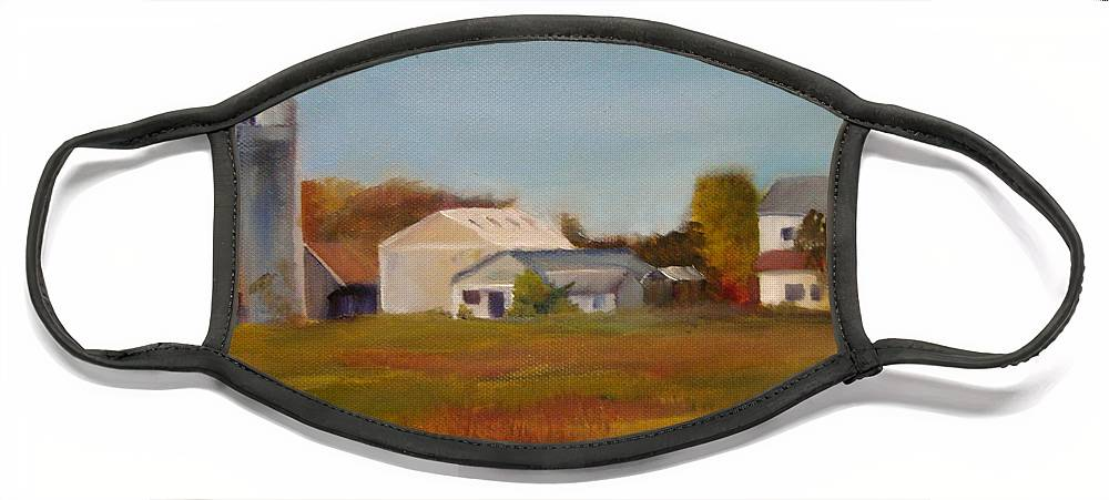 Farm Silo. Plein Aire Face Mask featuring the painting Farm by Sheila Mashaw