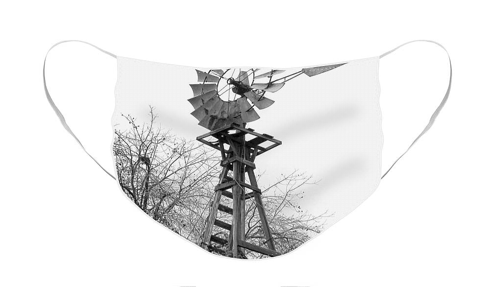Windmill Face Mask featuring the photograph Farm Windmill - Black and White by Carol Groenen