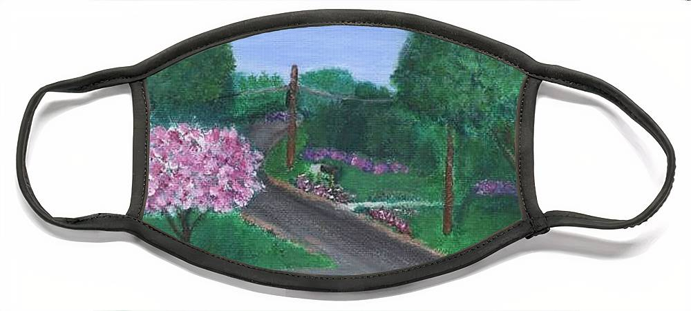 Plein Aire Face Mask featuring the painting Fellowship by Sheila Mashaw