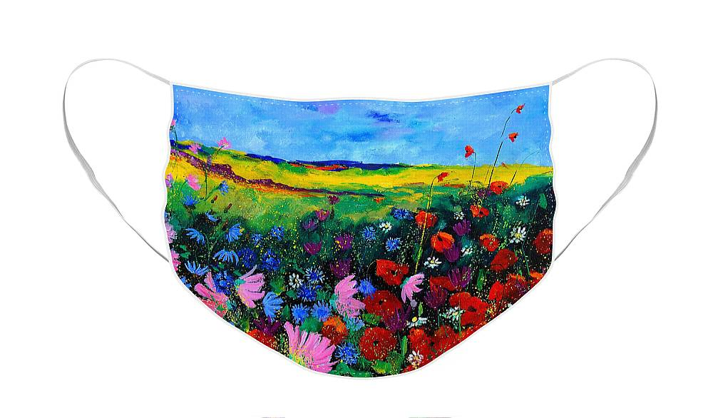 Poppies Face Mask featuring the painting Field flowers by Pol Ledent