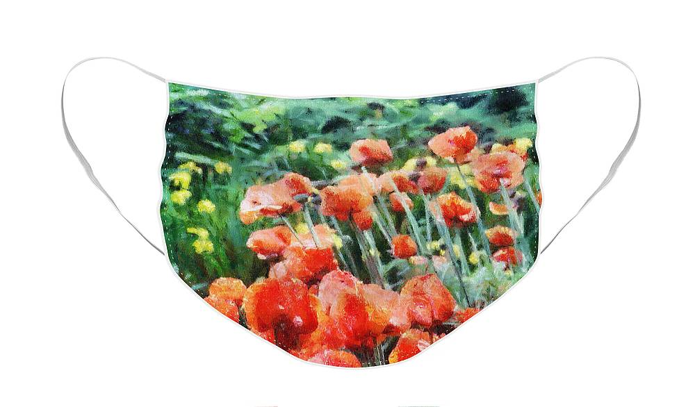 Canadian Face Mask featuring the painting Field of Flowers by Jeffrey Kolker