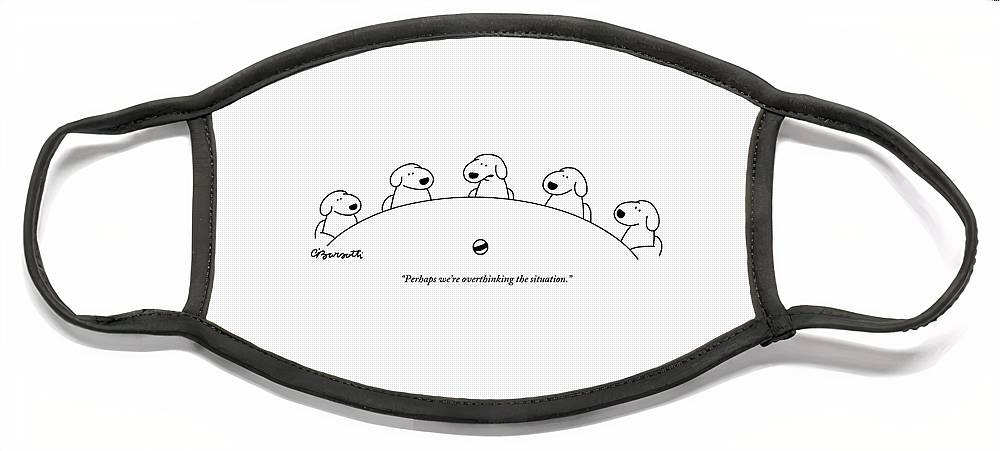 Five Dogs Sitting Around A Roundtable Face Mask