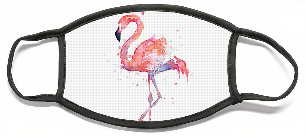 Bird Face Mask featuring the painting Flamingo Watercolor by Olga Shvartsur
