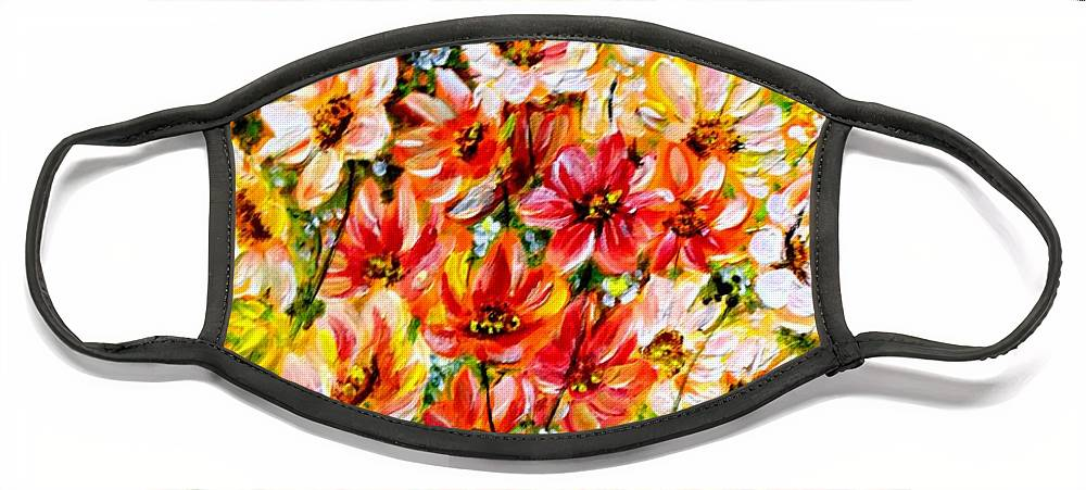 Abstract Daises Face Mask featuring the painting Floral Abstract by Karin Dawn Kelshall- Best