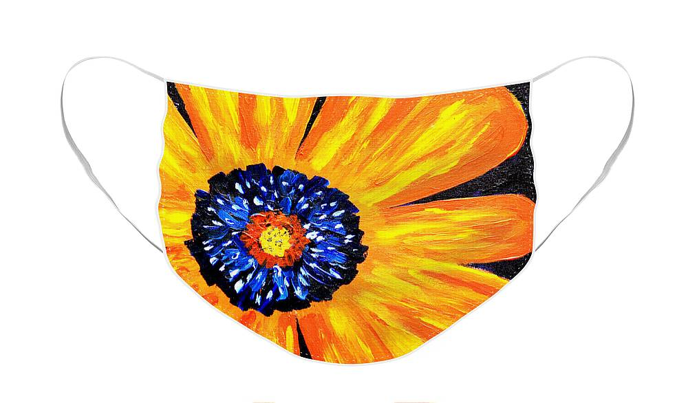 Yellow Face Mask featuring the painting Flower Power 2 by Paul Anderson